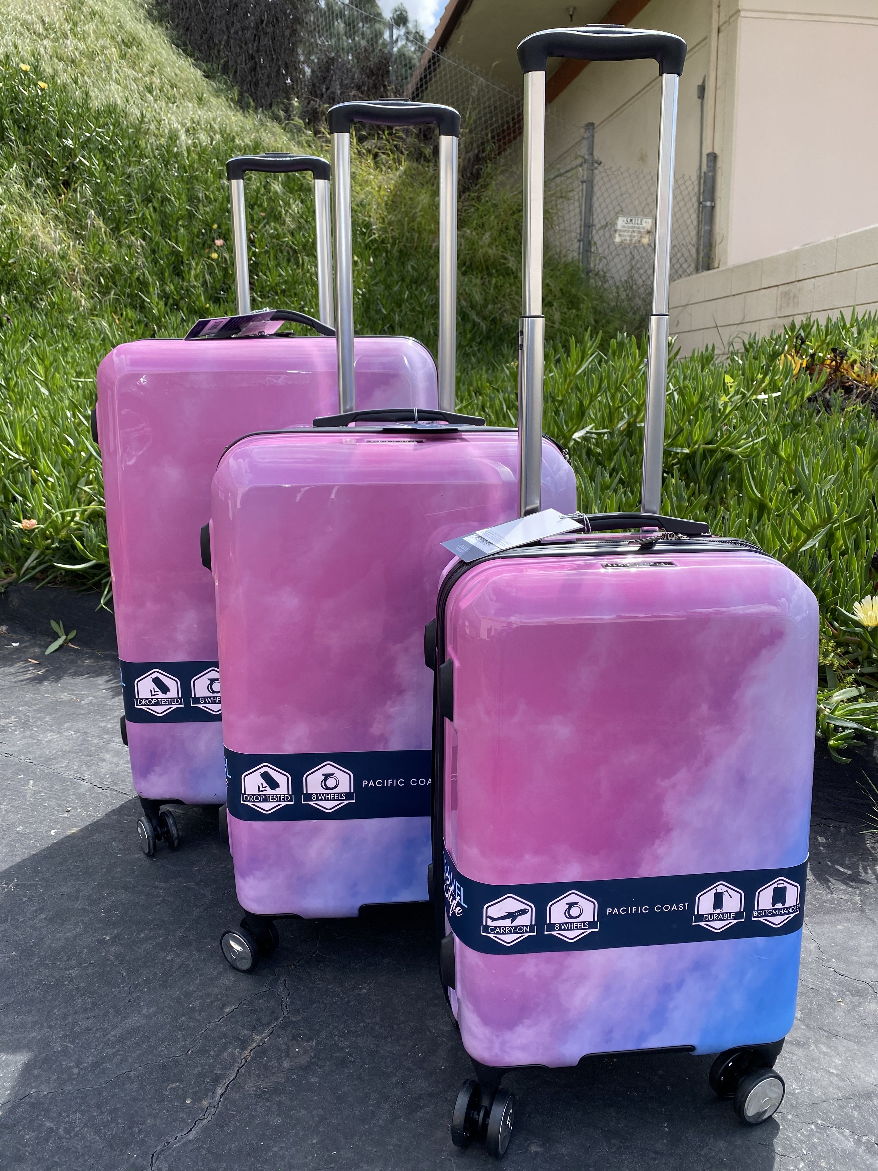 Pacific Coast 3-Piece Polycarbonate Pink Cloud Hardside Luggage Set